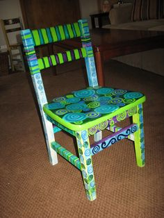 Hand-painted grade school chair, Green/Purple Swirls. $105.00, via Etsy.