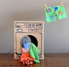 kartondan oyuncak çamaşır makinesi   Evimin Altın Topu