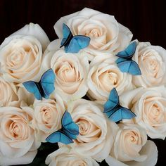 5 Wedding Bouquet Decorations Silk Origami Butterfly Something Blue Wedding Bouquet Decorations Artificial Butterflies SMALL SIZE