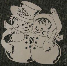 Картина панно рисунок Новый год Вырезание С нежная парочка Бумага фото 2 sněhuláci