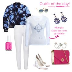 Blue flowered jacket,white pants,white high heels,pink clutch,pink nail polish and white silver floral t-shirt by Maraboo $44,90€