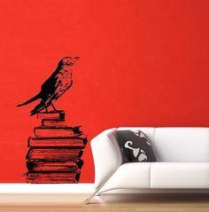 Raven with Books - Halloween Decoration - Large Vinyl Wall Decal Sticker Art: Joey's Office