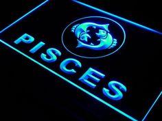Pisces Zodiac LED Light Sign www.shacksign.com Pisces Sign, Astrology Zodiac, Zodiac Signs, Neon Light Signs, Led Neon Signs, Engraved Gifts, Making Waves, Hanging Wire, Neon Lighting