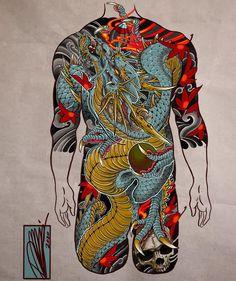 Blue Dragon, Dragon Art, Dragon Tattoo Art, Back Piece Tattoo, Back Tattoo, Japanese Tatoo, Leg Sleeve Tattoo, Japan Painting, Japan Tattoo