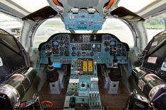 Flight deck of a Russian Tupolev Tu-160 - the fastest strategic bomber in service, also co-piloted once by Vladimir Putin.
