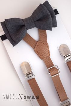 Dark gray chambray bow tie. Perfect for little man's Easter outfit!