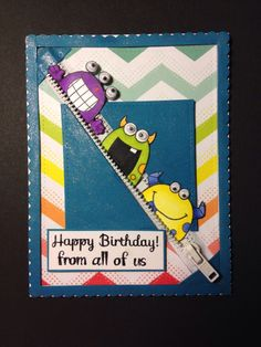 YNS Silly Monsters Stamps. Spectrum noir paper and alcohol markers. White metal zipper. Recollections Rainbow Chevron paper. Avery Elle Sweet Scallops die. Lawn Fawn small stitched rectangle die. Versafine ink. Recollections clear embossing powder. 5mm eyes. Wink of Stella.