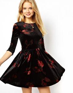 Image 1 ofASOS Skater Dress In Velvet Leaf Print $65