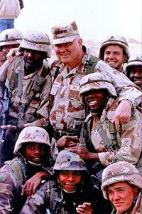 General Norman Schwarzkopf. Vietnam vet-3 Silver Stars for valor, a Bronze Star & Purple Heart. Commanding General of First Gulf War 1991 with clarity of purpose  & few coalition casualties. Stormin' Norman; a military hero and man of honor...rest in peace 1944- 12/27/12