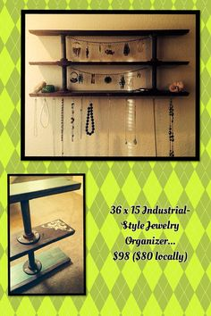 Repurposed Industrial metal pipe and aged wood Jewelry Organizer on Etsy, $98.00