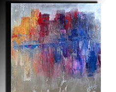Metálico de acrílico pintura abstracta pintura Original cuchillo de paleta de pintura arte en lienzo acrílico gruesa textura listo para colgar