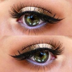 Eye makeup with metallic and purple.