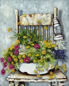 Art by Stella Bruwer rusty white enamel basin mixed summer flowers shabby white chair white lantern Decoupage Vintage, Decoupage Paper, Art Floral, Watercolor Flowers, Watercolor Paintings, Creation Photo, South African Artists, Country Paintings, Country Art