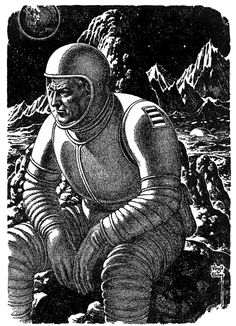 Moody space moment by the excellent Virgil Finlay. You know, there you are on a faraway moon somewhere, alone in space and it all just hits you - the meaningless of it all. Would love to know the context here.