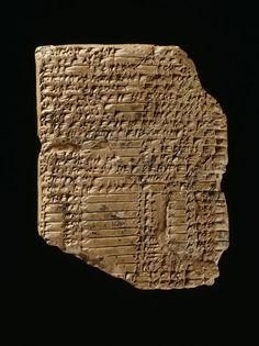"""Tablette portant le texte d'un mythe de création sumérien. Mythe de création """"Enki et Ninhursag"""" ; Basse Mésopotamie. 2150-2000 BC"""