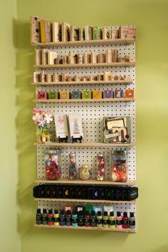 Stamp shelf peg board