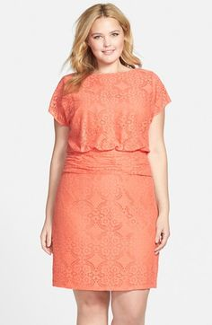 Adrianna+Papell+Medallion+Lace+Blouson+Dress+(Plus+Size)+available+at+#Nordstrom