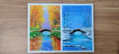 The Bridge landscape in two different seasons Different Seasons, Step By Step Painting, Acrylic Canvas, Hello Everyone, Channel, Landscape, History, Artwork, Youtube