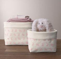 Nursery Canvas Storage - Pink Bunny