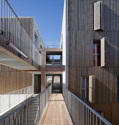Image 1 of 46 from gallery of Social Housing + Shops in Mouans Sartoux / Comte & Vollenweider. Photograph by Milèle Servelle Social Housing Architecture, Facade Architecture, Sustainable Architecture, Small Buildings, Beautiful Buildings, Urbane Analyse, Council House, Modular Homes, Location