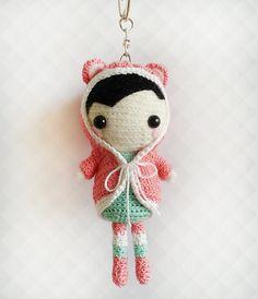 Crochet Doll Keychain Amigurumi Crochet Doll OOAK by krokrolamb