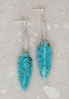 Tahoe Turquoise Arrowhead Earrings by RusticGrace on Etsy