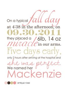 Love this!    Customized Printable/Frameable Birth Story by LifesLittleAdventure, $15.00