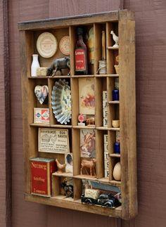 Farmhouse Style Kitchen, Vintage Farmhouse, Wall Shelf Arrangement, Decorating With Junk, Farm Animal Toys, Vintage Home Decor, Rustic Decor, Vintage Art, Printers Drawer