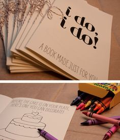 Wedding reception activities. Perfect kids activity book for a wedding (could be for big and small kids !). Great way to fill the time between the ceremony and reception.