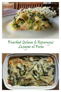 This divinely delicious Italian baked lasagna made with fresh asparagus and fresh salmon fillets is bound to impress your guests. It did mine! Check out the recipe on the blog! #pasta #lasagna #lasagne #bakedpasta #Italianfood #pastarecipe #lasagnealforno #asparagus #salmon @pastaproject Fish Recipes, Seafood Recipes, Pasta Recipes, Healthy Recipes, Noodle Recipes, Poached Salmon, Salmon And Asparagus, Asparagus Recipe, Baked Lasagna