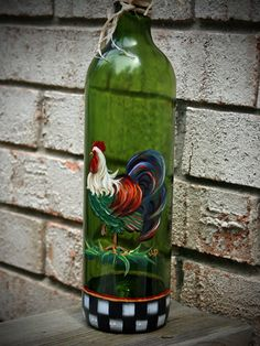 Olive Oil Dispenser with Hand Painted Rooster Custom by JCandmeArt