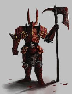 chaos knight - Khorne 2 by tuqi on DeviantArt Fantasy Kunst, Dark Fantasy Art, Fantasy Artwork, Character Concept, Character Art, Concept Art, Character Design, Fantasy Warrior, Dnd Characters