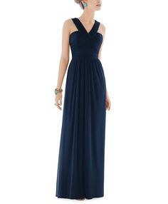 Stylist NotesLove the combo of a long and flowy skirt with a rouched architectural v-neckline. -SonaliDescriptionAlfred Sung Style D678Full length bridesmaid dressHalter necklineNatural waistChiffon Knit