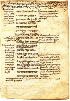 """Stanford University, MISC 0305. The Ege manuscript  with leaves held at a number of institutions (nearly all of them libraries in the U.S. and Canada). -  """"Otto Ege provided the following description for the leaves of this manuscript:  New Testament, with Glosses of Bede, Jerome, and Gregory (Testamentum Novum, cum Glossis Bedae, Hieronymi, et Gregorii ). Switzerland (?), Early 12th Century. Latin Text; Revived Carolingian Script."""" -- biblioclast"""