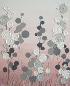 "Pink and Grey Textured Flower Art, Original Painting on Canvas, 16x20"" READY TO SHIP"