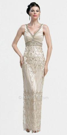 Okay so it's Art Deco, not Nouveau, but it's still stunning.  V-neck Column Evening Dresses by Sue Wong-image