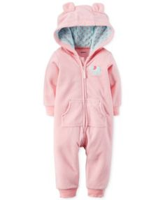 Carter's Baby Girls' Microfleece Elephant Hooded Coverall