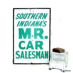 Large Vintage Folk Art Advertising Sign Handmade by CityBeepster