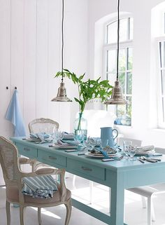 The Bright Painted Furniture Movement {Inspiration} Home Living, Coastal Living, Coastal Decor, Coastal Style, Bright Painted Furniture, Dining Area, Dining Table, Dining Rooms, Nook Table
