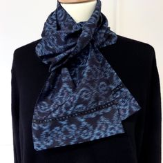 "S83 Formal scarf ""Gigli""; indigo/black/red ikat/tsumugi silk;57""X6.5""; Limited Edition. by LizzieHuxtable on Etsy"