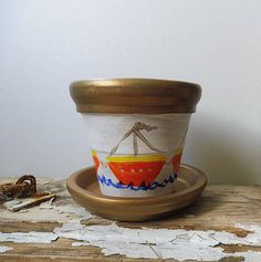 Painted Clay Pot Boats Clay Pots Terracotta Pot Clay