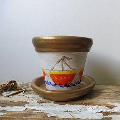 Painted Clay Pot Boats Clay Pots Terracotta Pot Clay