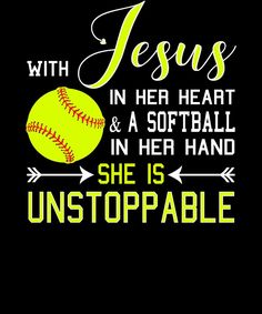 Christian Softball Hoodie, With Jesus In Her Heart & A Softball In Her Hand, She Is Unstoppable, Fastpitch Sweatshirt, Softball and Jesus - Deportes Funny Softball Quotes, Softball Cheers, Softball Gifts, Softball Pictures, Softball Stuff, Softball Pitcher Quotes, Softball Things, Softball Party Favors, Girls Softball Room