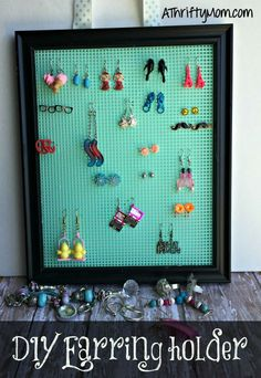 diy earring holder, earring holder, crafts, thrifty crafts, thrifty gifts, diy gifts, thrifty ways to save, organizing your home, girls gifts