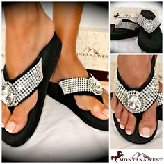 2549c0b2567352 Montana West New Style Western Bling Multi Row Flip Flop Wedge Jeweled Black