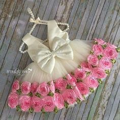 White & Pink Roses Dress