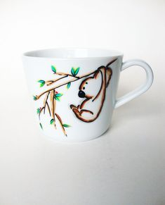 Koala Bear Coffee Mug, Hand Painted Unique Coffee Mug,  Animal Mug, Tea Cute Cup,