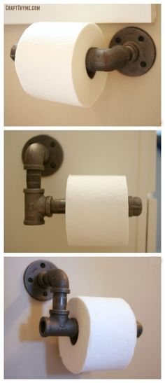 How to make industrial toilet paper holder for DIY # for # . - How to make industrial toilet paper holder for home improvement - Industrial Toilets, Industrial Bathroom, Industrial House, Industrial Style, Industrial Furniture, Industrial Curtains, Industrial Basement, Industrial Farmhouse Decor, Industrial Pipe Shelves
