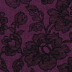 purple Michael Miller fabric with flower lace illusion beautiful purple fabric with black flower lace print from the USA. ...i luv this! I hav the perfect project in mind for this :)