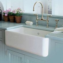 View the Rohl RC3018 30 Handcrafted, Single-Basin, Fireclay, Apron-Front Farmhouse Kitchen Sink from the Shaws Original Series at FaucetDirect.com.